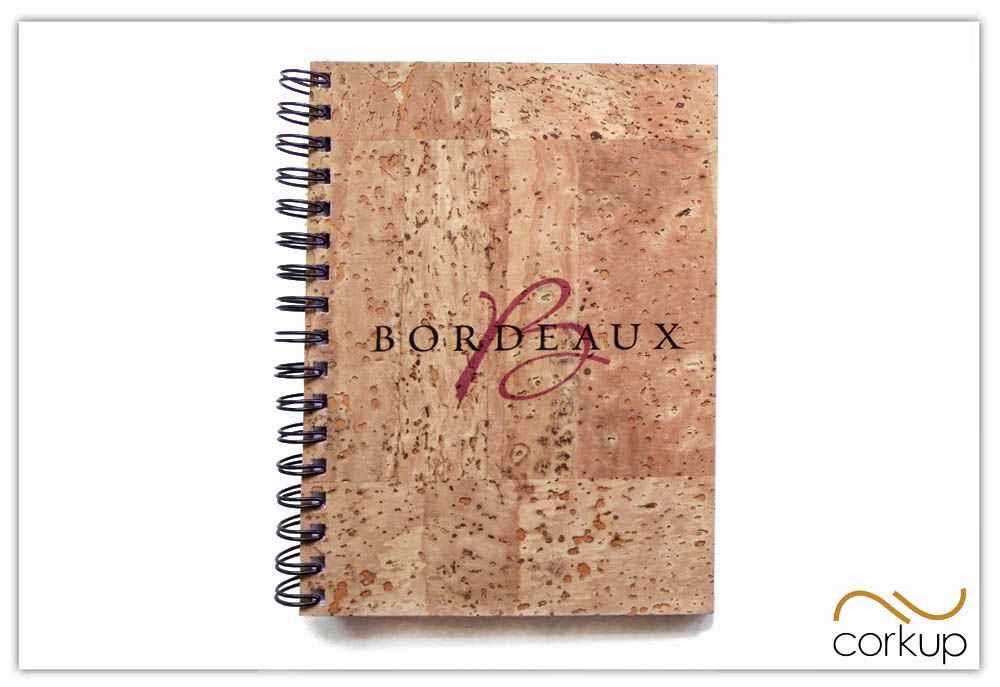 Accesorios para la cata de vino - cuaderno de corcho natural