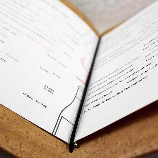 Carta menú restaurante original de corcho
